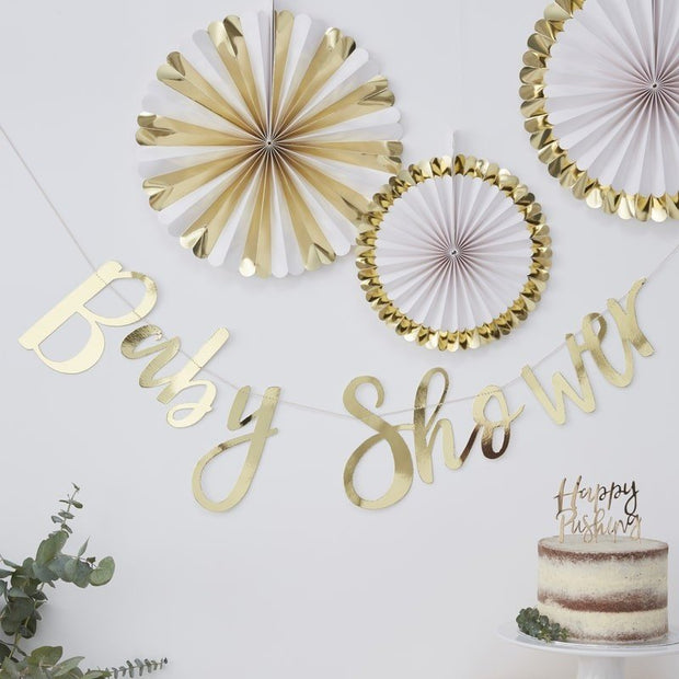Gold baby shower banner - Oh baby gold foiled baby shower bunting - Baby shower decorations - Gold baby shower backdrop - Baby shower party