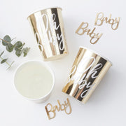 Gold Oh Baby! paper cups - Gold foiled baby shower paper cups - Baby shower tableware - Baby shower decor - Gold baby shower - Pack of 8