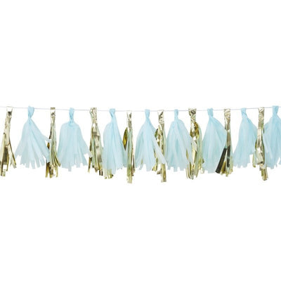 Blue and gold tassel garland kit - Oh Baby! blue and gold tassel garland - Baby shower decorations - Gold and blue baby shower backdrop