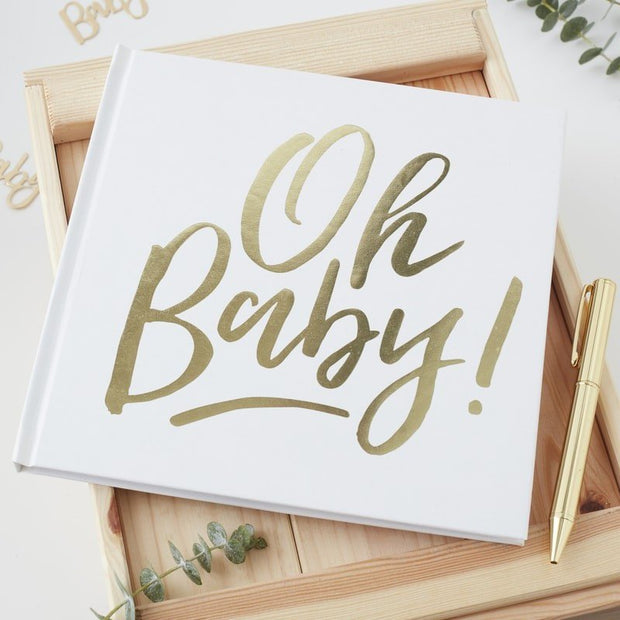 Baby shower guest book - Oh Baby white and gold guest book - Baby shower games - New baby - Mother to be guest book - Mum to be advice