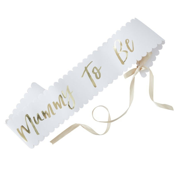 Mummy To Be sash - Oh Baby gold and white Mummy To Be sash - Baby shower sash - Gold and white baby shower props - Mum to be - Mom to be