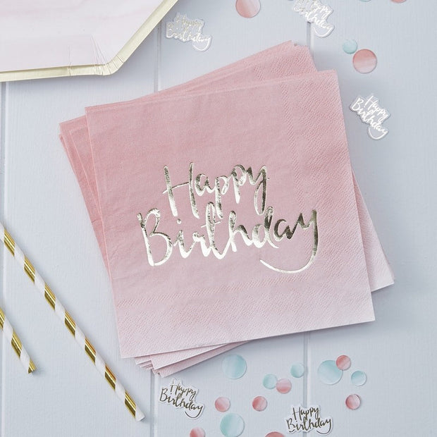 Pink Happy Birthday napkins -Gold foiled Happy Birthday paper napkins-Birthday party tableware-Pink ombre party decor-Girls party-Pack of 20