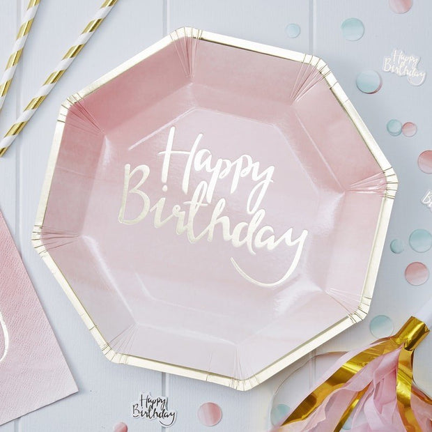 Pink Happy Birthday plates - Gold foiled Happy Birthday paper plates - Birthday party tableware-Pink ombre party decor-Girls party-Pack of 8