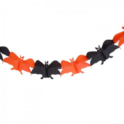 Bat paper garland - Halloween decorations - Orange and black bats - Party decorations - Halloween bats - Spooky decor - Scary decor