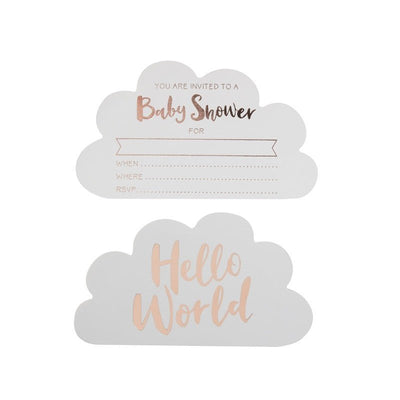 Baby shower invitations - Hello World invitations - Invitation cards -Rose gold baby shower invitations-Cloud baby shower invites-Pack of 10