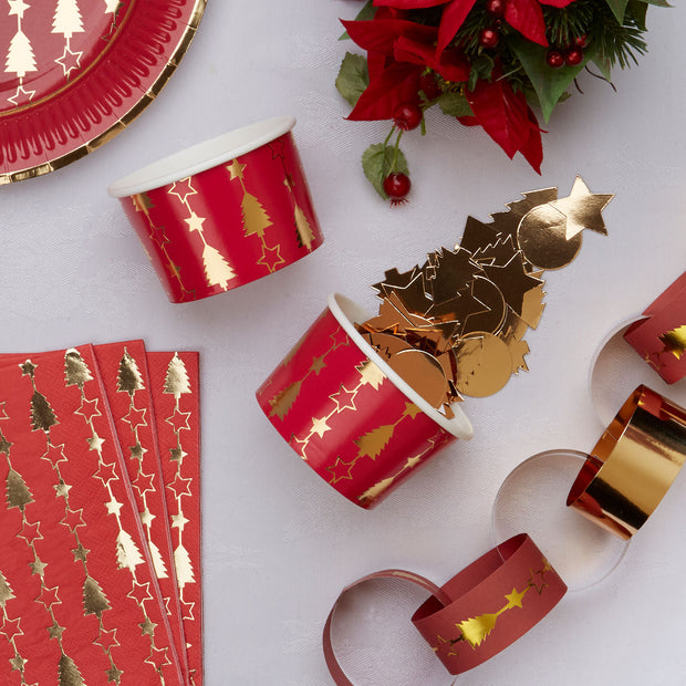 Christmas red and gold snack tubs - Christmas paper desert tubs-Gold Christmas tree tubs-Christmas party tableware-Red Christmas tubs-8 tubs