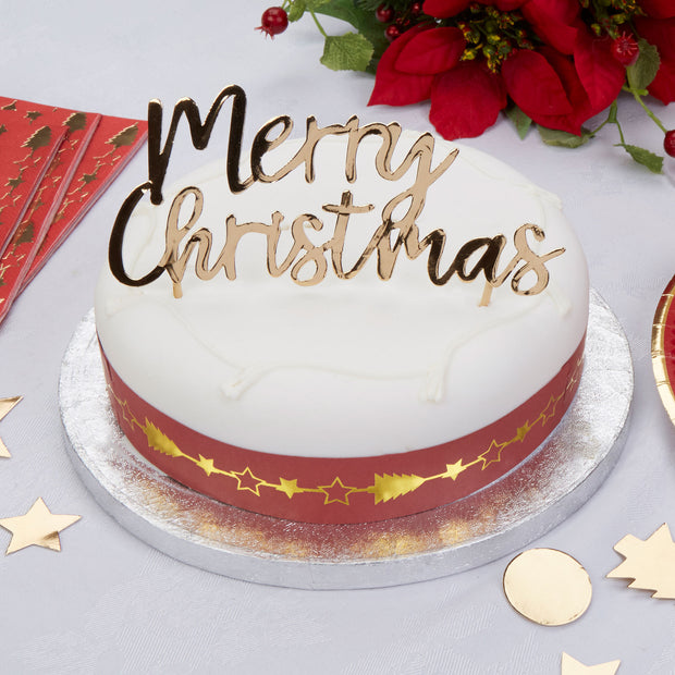 Merry Christmas cake topper-Gold Christmas cake decoration-Gold cake topper-Gold foiled Merry Christmas-Christmas decoration-Cake decoration