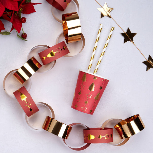 Christmas red and gold paper chains - Christmas paper chain decorations - Gold star and Christmas tree paper chains - Christmas party decor