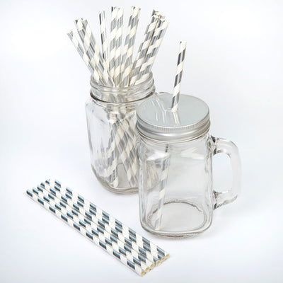 Silver and white striped paper straws - Silver straws - Christmas party straws - Birthday party straws - Baby shower straws - 25 pack