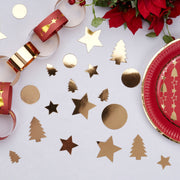 Christmas gold foiled table confetti - Christmas table scatters - Gold star table confetti - Christmas tree table confetti - Party tableware