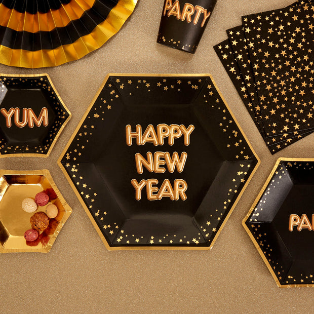 Black and gold large 'Happy New Year' paper plates - 8 pack