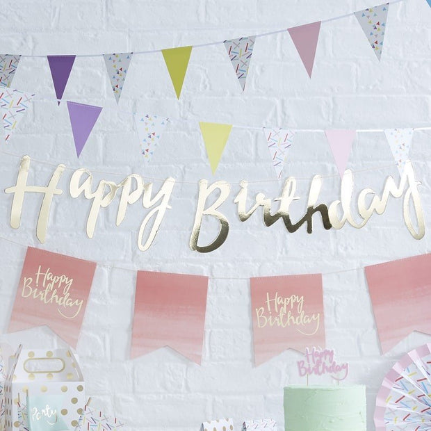 Gold Happy Birthday bunting - Birthday party bunting - Gold bunting - Party decorations - Birthday party backdrop - Photo backdrop - Garland