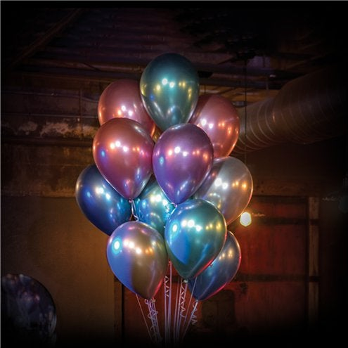 "Silver Chrome 11"" round latex balloons"