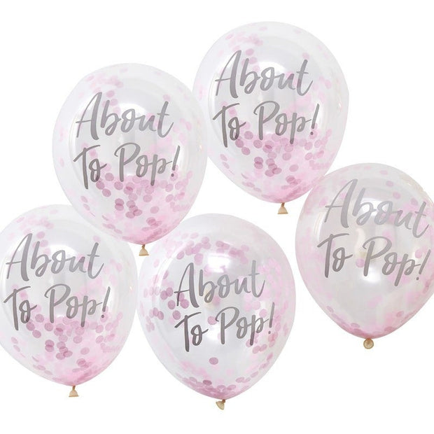 About To Pop Pink Confetti Baby Shower Balloons, Pack of 5