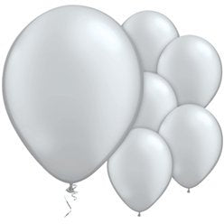 "Silver Metallic 11"" Round Latex Balloons"