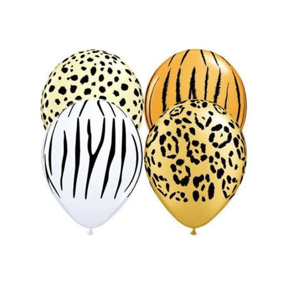"Leopard Print Safari Animal 11"" Round Latex Party Balloons, Pack of 5"