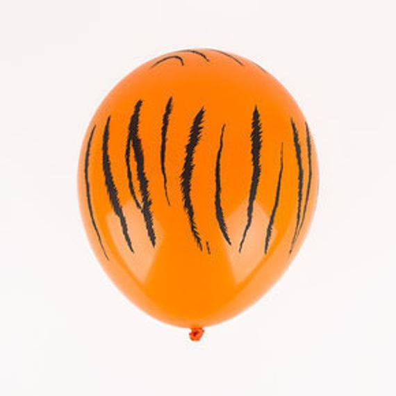 "Tiger Print Safari Animal 11"" Round Latex Party Balloons, Pack of 5"