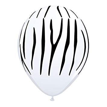 "Zebra Print Safari Animal 11"" Round Latex Party Balloons, Pack of 5"
