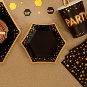 Black and gold canapé size paper party plates - 8 pack