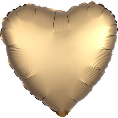 "Gold Satin Heart Shaped 18"" Foil Helium Balloon"
