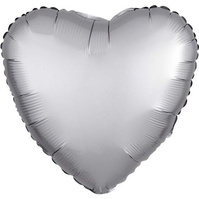 "Platinum Silver Satin Heart Shaped 18"" Foil Helium Balloon"