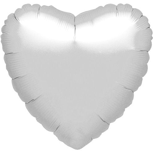 "Silver Metallic Heart Shaped 18"" Foil Helium Balloon"