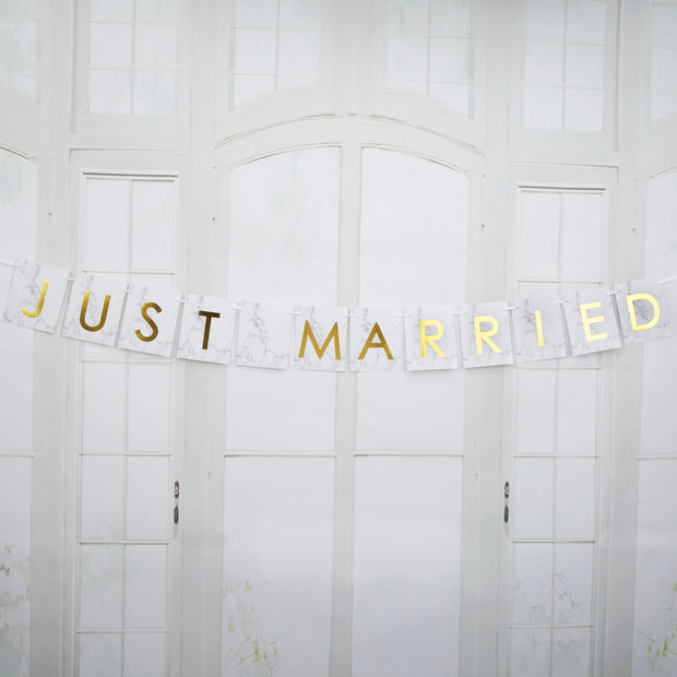 Marble and Gold Just Married Car Bunting Wedding Accessory