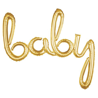 Gold Baby Foil Script Air Fill Balloon - 39""