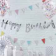 Silver Happy Birthday Party Bunting