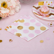 Pink and gold napkins - Baby shower paper napkins - Paper party napkins - Birthday napkins - Party decorations - Party tableware -16 napkins