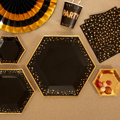 Gold & black plates-Large gold stars paper plates-Hen party plates -Birthday paper plates-Party decorations-Party tableware-8 pack