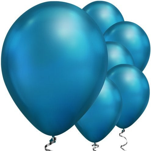 "Blue Chrome 11"" round latex balloons"