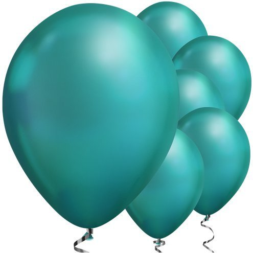 "Green Chrome 11"" round latex balloons"