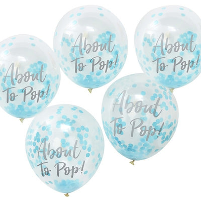 About To Pop Blue Confetti Baby Shower Balloons, Pack of 5