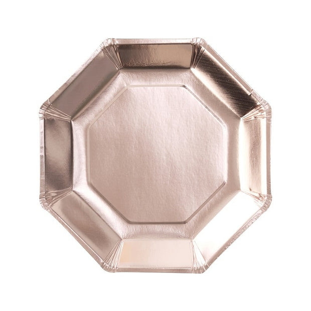 Rose Gold Paper Party Plates, Pack of 8