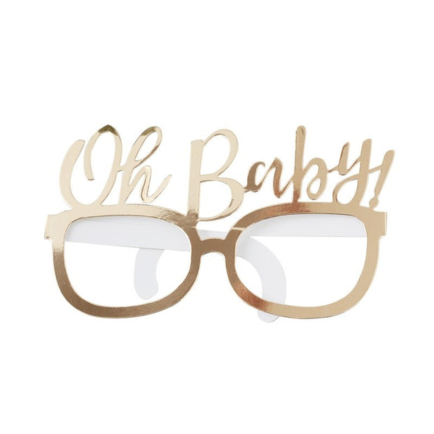 Oh Baby Gold Foiled Baby Shower Photo Prop Glasses
