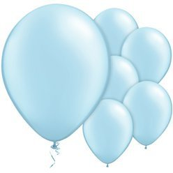 "Light Baby Blue Pearl 11"" Round Latex Balloons"