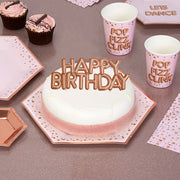 Rose Gold Happy Birthday Cake Topper Decoration