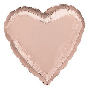 "Rose Gold Heart Shaped Valentine's Day 18"" Foil Helium Balloon"