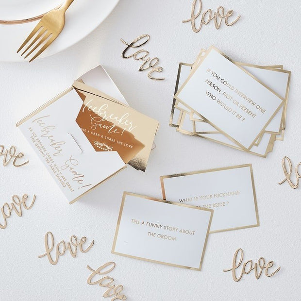Wedding Table Game, White and Gold Wedding Trivia Ice Breaker Game