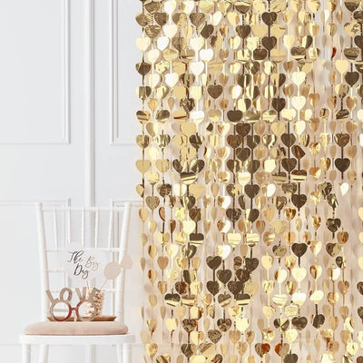 Gold Heart Backdrop - Gold Foil Photo Backdrop Curtain - Gold Wedding Photo Backdrop
