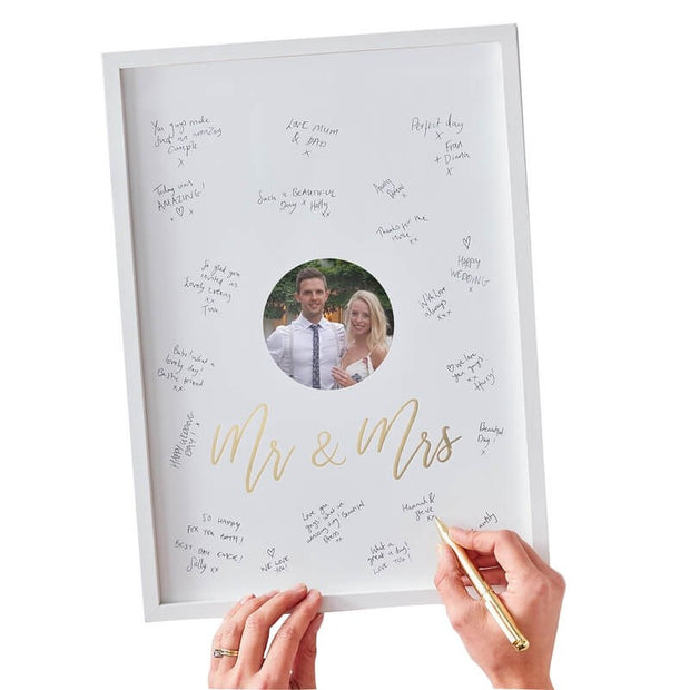 White and Gold Wedding Guest Book Frame - Mr and Mrs Wedding Guest Book Alternative - Gold Wedding Photo Frame