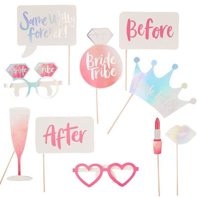 Hen Party Photo Booth Props - Bride Tribe Iridescent and Pink Photo Props - Team Bride