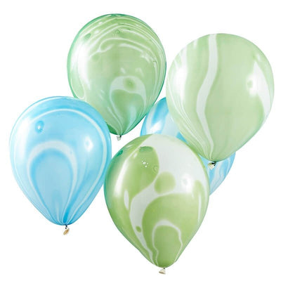 Green and Blue Marble Balloons - Roarsome Dinosaur Theme Party Balloons - Pack of 10
