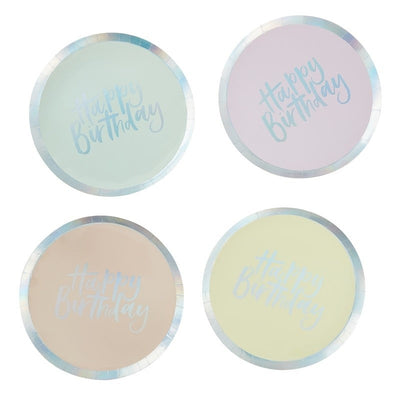 Iridescent Pastel Paper Birthday Party Plates - Pack of 8