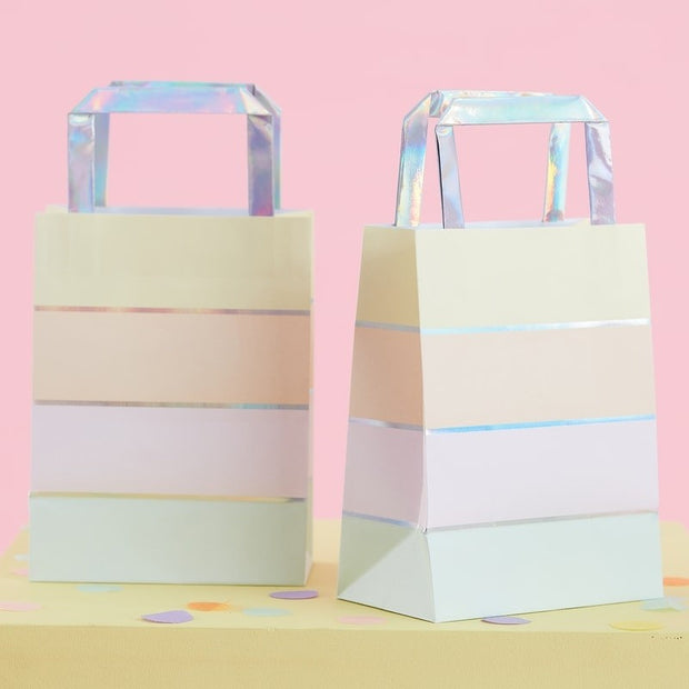 Pastel Rainbow Iridescent Stripe Paper Party  Bags - Pack of 5
