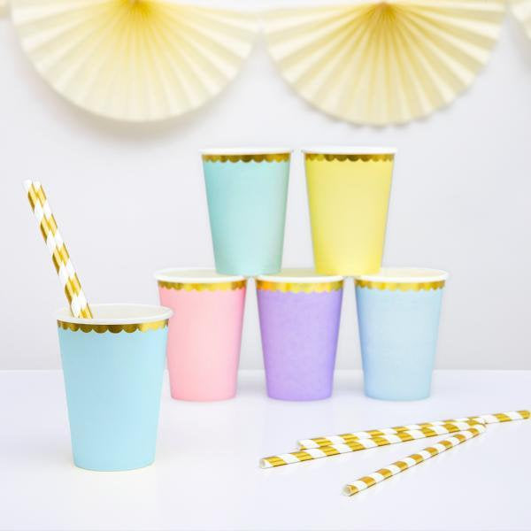 Pastel Blue and Gold Foil Paper Party Cups - Pack of 6