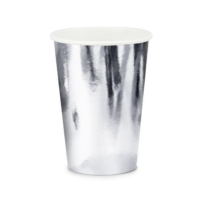Silver Party Paper Cups - Pack of 6