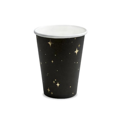 Black Gold Star Party Paper Cups - Pack of 6