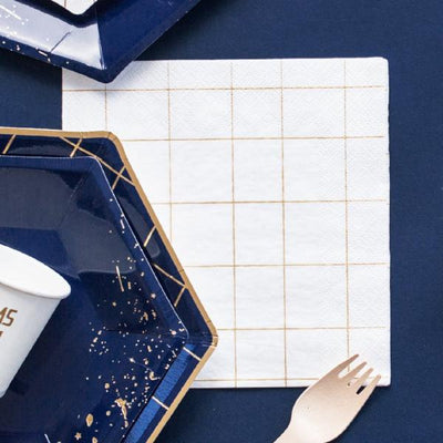 White and Gold Square Grid Design Paper Napkins - Pack of 20